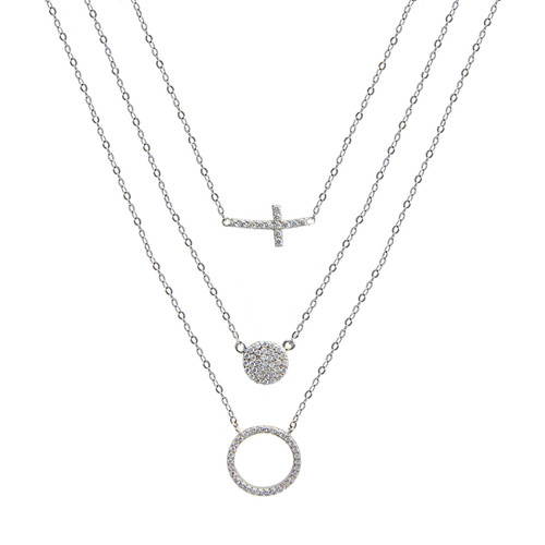 This light weight, three chain sparkling religious necklace has a cross charm with a disc and halo charm.