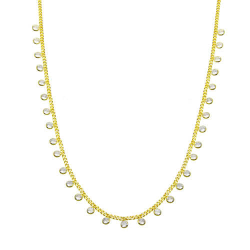 Stylish and dainty dangling cz charm necklace. This is perfect for everyday wear, layering, or gift giving.
