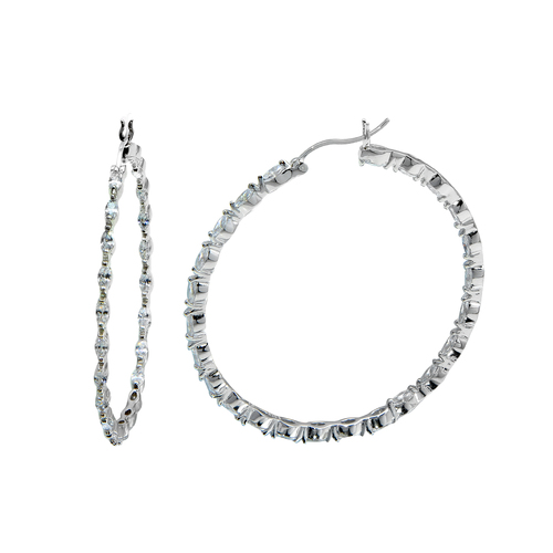 These CZ hoop earrings are a great gift for her, with a round-cut cz coated surface along the outer and inner lining