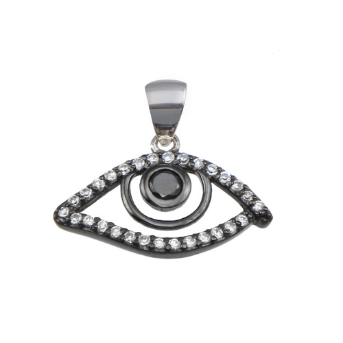 STERLING SILVER RHODIUM PLATED ROUND OPEN EVIL EYE CZ DISK PENDANT