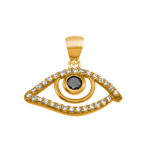 STERLING SILVER GOLD PLATED ROUND OPEN EVIL EYE CZ DISK PENDANT