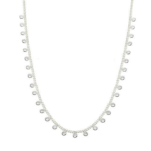 STERLING SILVER RHODIUM PLATED CZ DANGLE NECKLACE 16+2''