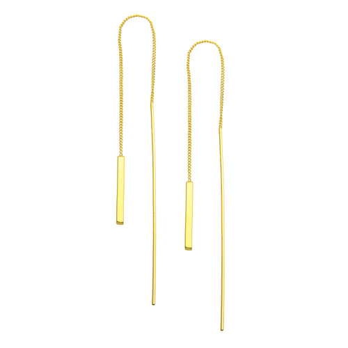GOLD PLATED BAR DANGLE EARRINGS
