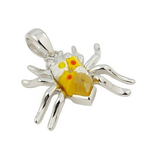 MURANO MILLEFIORI YELLOW FACETED SPIDER PENDANT