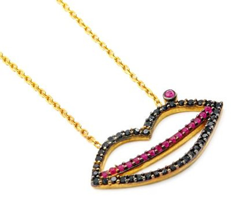 """GOLD PLATED LIP SHAPED BLACK AND RED CZ NECKLACE 16""""+1"""" ADJUSTABLE"""