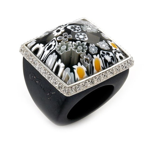 MURANO GRAND COLLECTION FACETED BLACK SQUARE GLASS DOME RING WITH BLACK CZS