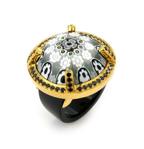 EXQUISITE COLLECTION FACETED BLK/WHT MURANO GLASS GOLD PLATED RING WITH HIGH QUALITY CZ MICROSETTING