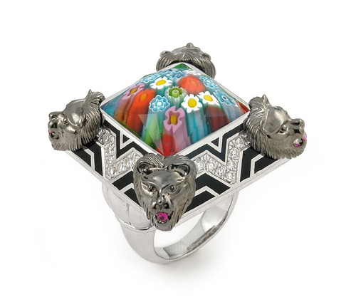 EXQUISITE COLLECTION FACETED MLT MURANO GLASS RING W/ LION ACCENTS AND HIGH QUALITY CZ MICROSETTING