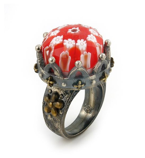 SIGNATURE COLLECTION FACETED RED MURANO GLASS ROUND RING CROWN SHAPE WITH COPPER AND SIGNITY CZ ACCENTS