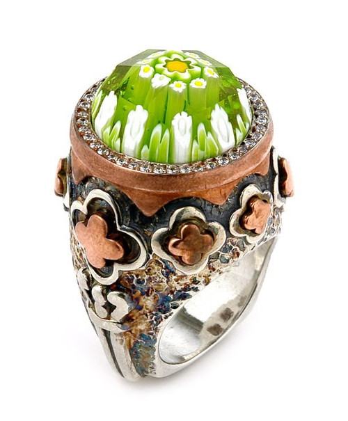 SIGNATURE COLLECTION FACETED GREEN MURANO GLASS ROUND RING WITH COPPER AND SIGNITY CZ ACCENTS