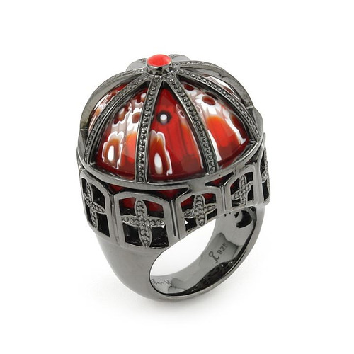 EXQUISITE COLLECTION FACETED RED ROUND MURANO GLASS RING SET IN BLACK RHODIUM FINISH SILVER CAGE FRA