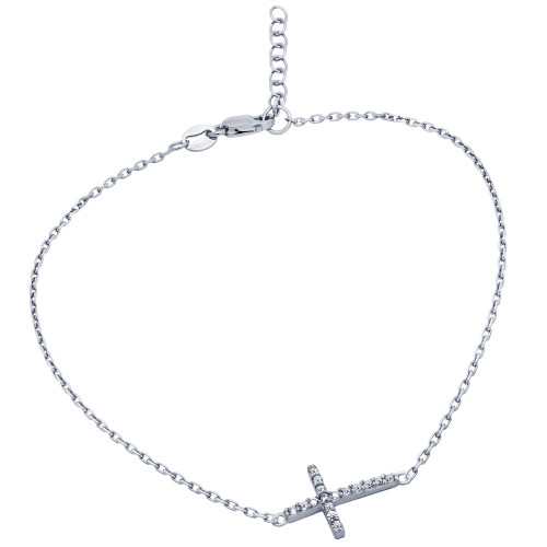 "RHODIUM PLATED CZ CROSS ANKLET 9"" + 1"""