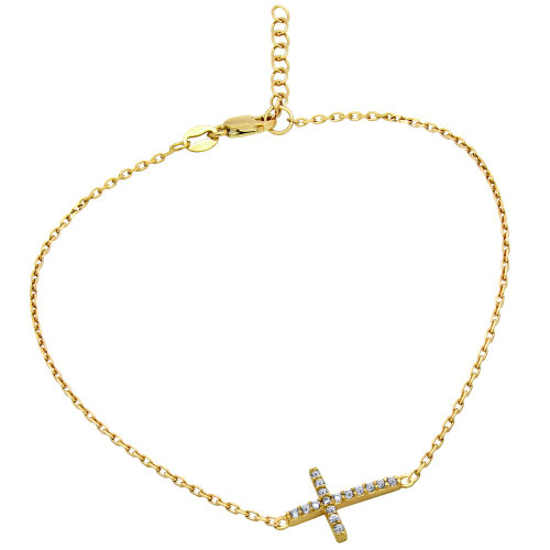 "GOLD PLATED CZ CROSS ANKLET 9"" + 1"""