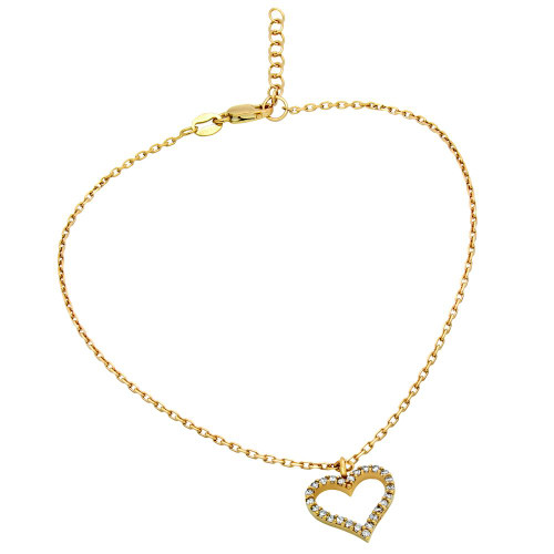 """GOLD PLATED CZ HEART ANKLET 9"""" + 1"""""""