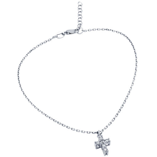 """RHODIUM PLATED SMALL CZ CROSS ANKLET 9"""" + 1"""""""