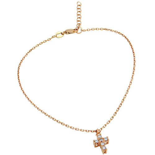 """ROSE GOLD PLATED SMALL CZ CROSS ANKLET 9"""" + 1"""""""