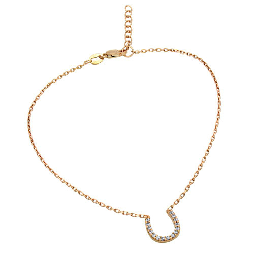 "ROSE GOLD PLATED CZ HORSESHOE ANKLET 9"" + 1"""