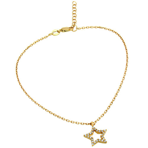 "GOLD PLATED CZ STAR ANKLET 9"" + 1"""