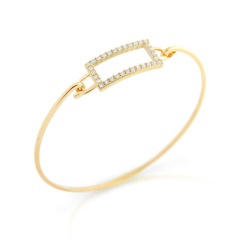GOLD PLATED RECTANGLE CUT OUT DESIGN BANGLE WITH ALL AROUND CLEAR CZ STONES
