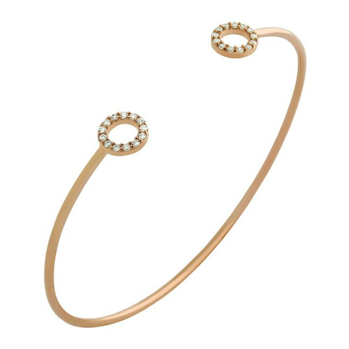 ROSE GOLD PLATED WIRE BANGLE WITH 7MM CZ ETERNITY CIRCLES