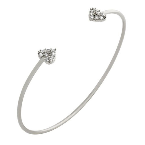 RHODIUM PLATED WIRE BANGLE WITH SMALL CZ HEARTS