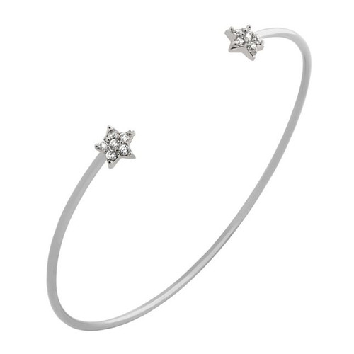 RHODIUM PLATED WIRE BANGLE WITH CZ STARS