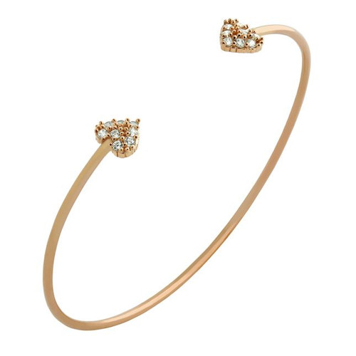 ROSE GOLD PLATED WIRE BANGLE WITH SMALL CZ HEARTS
