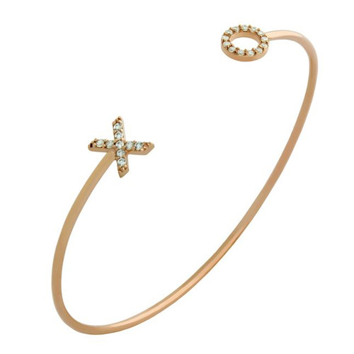 ROSE GOLD PLATED WIRE BANGLE WITH CZ XO