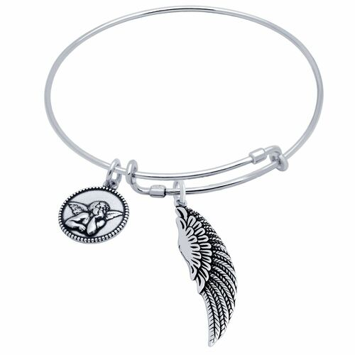 STERLING SILVER EXPANDABLE BANGLE WITH WING AND CHERUB CHARMS
