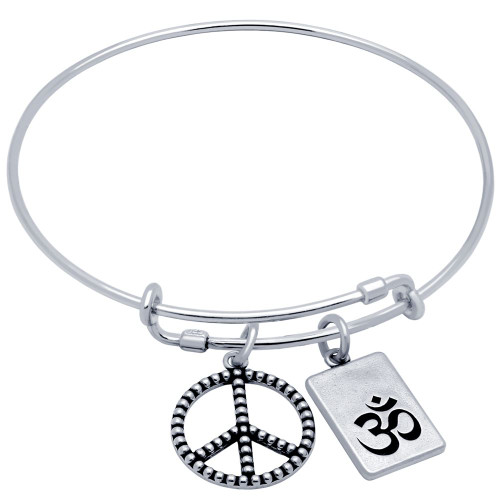 STERLING SILVER EXPANDABLE BANGLE WITH PEACE AND OM CHARMS