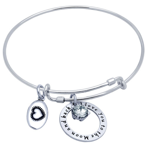 "STERLING SILVER EXPANDABLE BANGLE WITH HEART, ""I LOVE YOU"", AND 6.5MM CZ CHARMS"