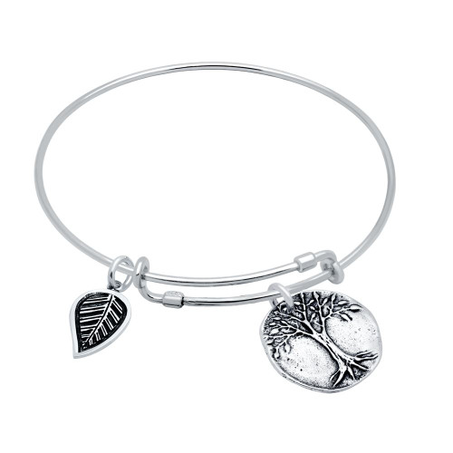 STERLING SILVER EXPANDABLE BANGLE WITH LEAF AND TREE OF LIFE CHARMS