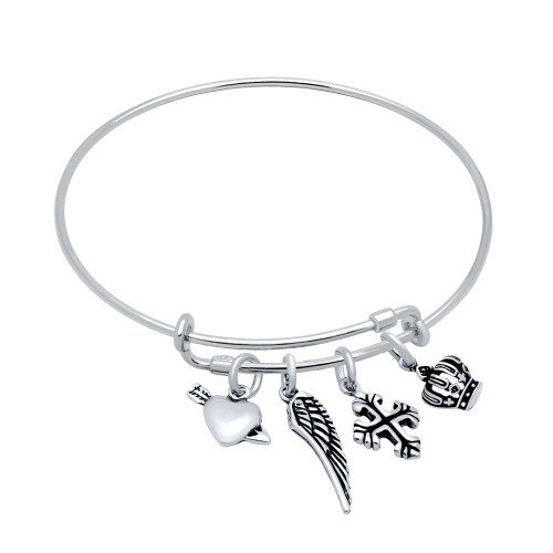 STERLING SILVER EXPANDABLE BANGLE WITH CROWN, WING, HEART/ARROW, AND CROSS CHARMS