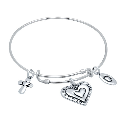 "STERLING SILVER EXPANDABLE BANGLE WITH HEART, CROSS, AND ""LOVE"" CHARMS"