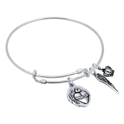 STERLING SILVER EXPANDABLE BANGLE WITH SACRED HEART/MILAGROSA, WING, AND CROWN CHARMS