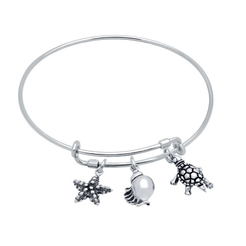STERLING SILVER EXPANDABLE BANGLE WITH TURTLE, SEASHELL, AND STARFISH CHARMS