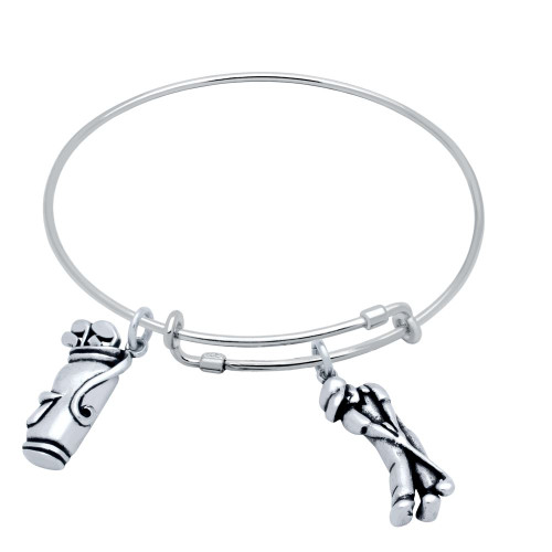 STERLING SILVER EXPANDABLE GOLF CHARM BANGLE