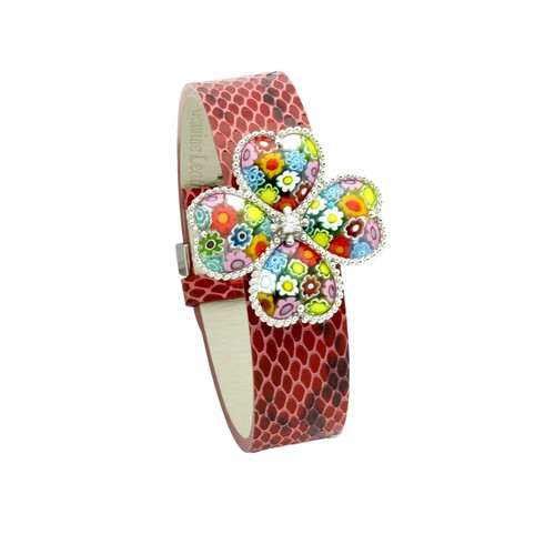 MULTICOLOR MURANO MILLEFIORI FLOWER OF HEARTS LEATHER BRACELET
