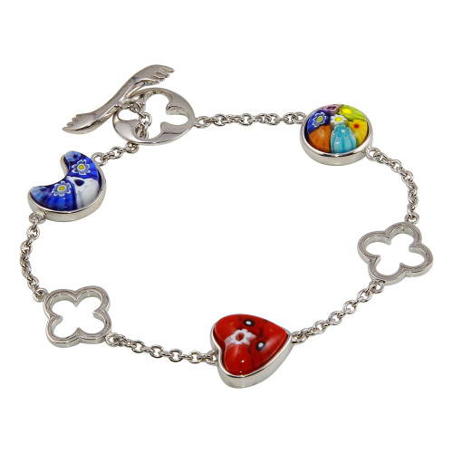 MURANO MILLEFIORI MULTI SHAPE AND MULTICOLOR TOGGLE BRACELET 7""