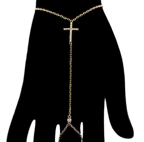 GOLD PLATED CZ CROSS SLAVE BRACELET