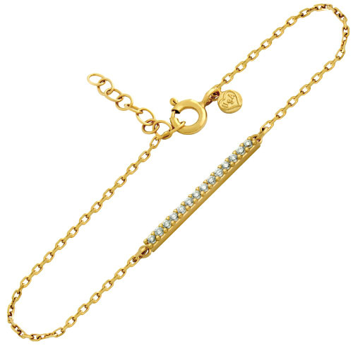 "GOLD PLATED CZ BAR BRACELET 6.5"" + 1"""