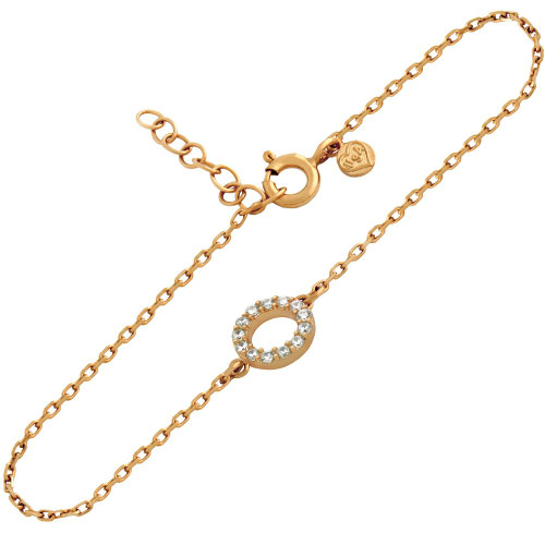 "ROSE GOLD PLATED 7MM CZ ETERNITY CIRCLE BRACELET 6.5"" + 1"""