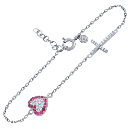 "RHODIUM PLATED CZ PAVE CROSS AND HEART BRACELET 6.5"" + 1"""