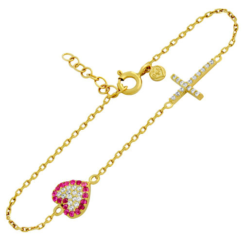 "GOLD PLATED CZ PAVE CROSS AND HEART BRACELET 6.5"" + 1"""