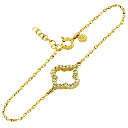 "GOLD PLATED CZ CUTOUT ROYAL CLOVER BRACELET 6.5"" + 1"""