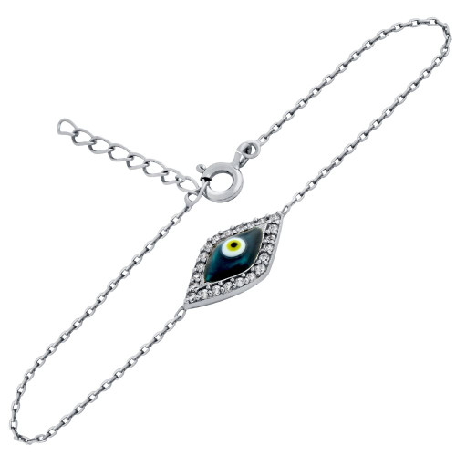 "RHODIUM PLATED CLEAR CZ EYE BRACELET WITH DARK BLUE EYE 6""+1"""