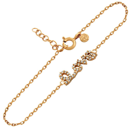 "ROSE GOLD PLATED CZ LOVE BRACELET 6.5"" + 1"""