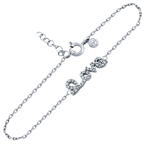 "RHODIUM PLATED CZ LOVE BRACELET 6.5"" + 1"""
