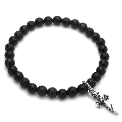 "TWISTED BLADE 7"" BLACK AGATE STRETCH BRACELET WITH SILVER DAGGER CHARM"