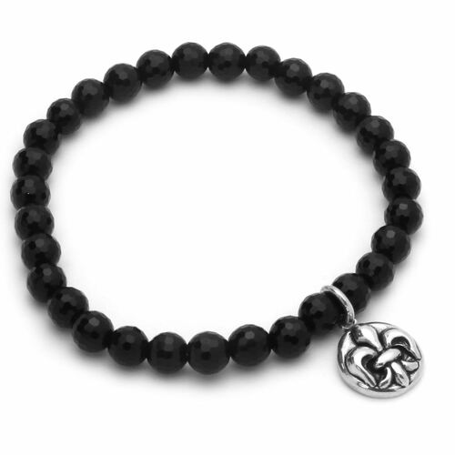 "TWISTED BLADE 7"" BLACK AGATE STRETCH BRACELET WITH SILVER FLEUR DE LIS CHARM"